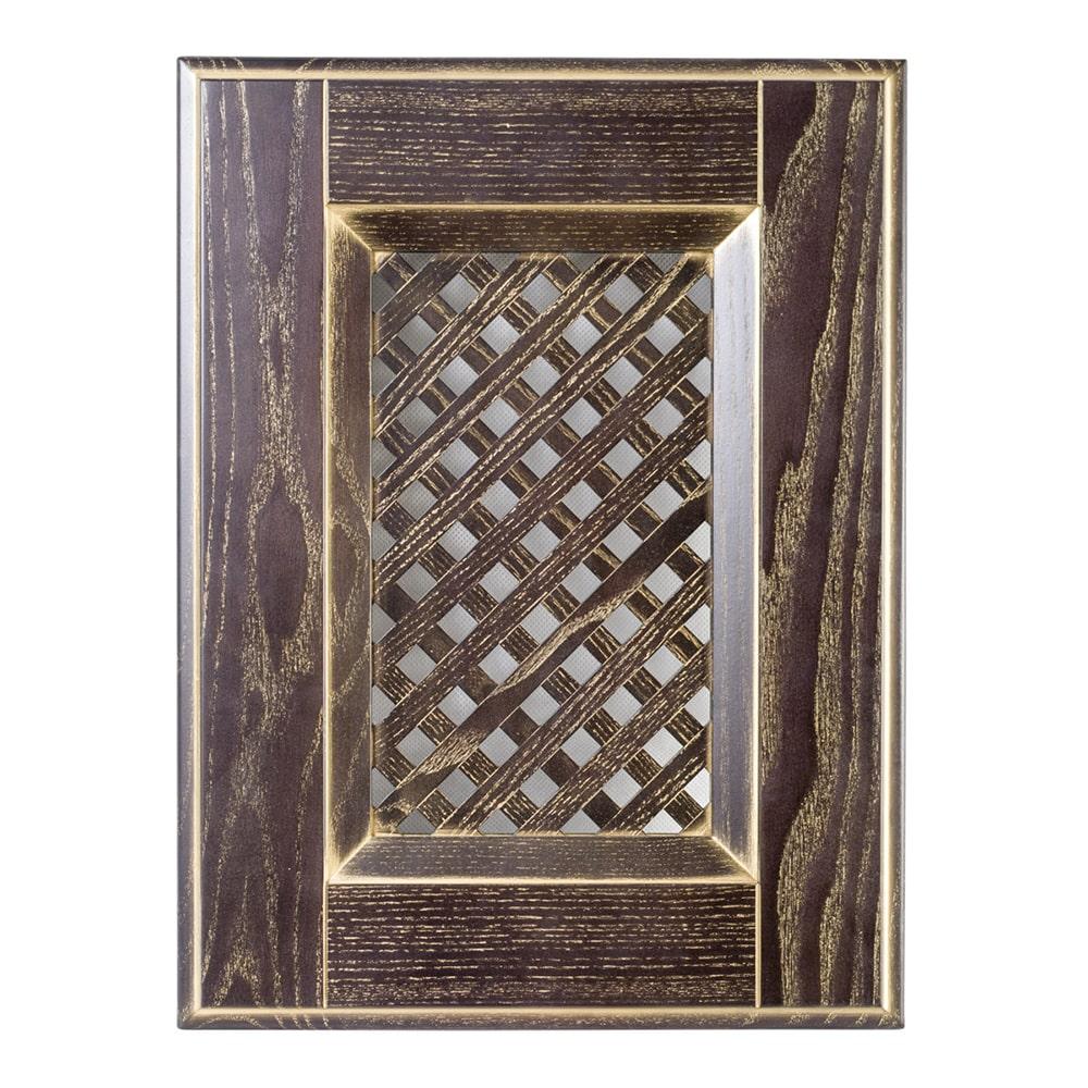Мебельный фасад ИТАЛЬЯНО витрина с решеткой из массива древесины + матовая краска + патина